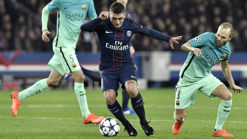 Aksi Verratti saat PSG menghadapi Barcelona